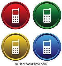 Vier Knöpfe mit einem Handy