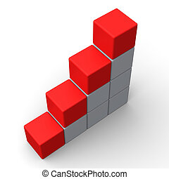 Vier leere Schritte zeigen Kopienraum für vier Buchstaben