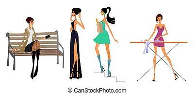 Vier moderne Mädchen.