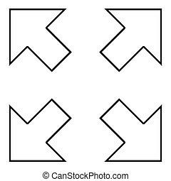 Vier Pfeile, die auf verschiedene Richtungen zeigen, von der Mitte-Symbol-Symbol-Darstellung der schwarzen Farbe.