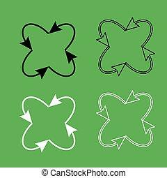Vier Pfeile in Schleife in und aus der Mitte Ikone Schwarz und weiße Farbe gesetzt