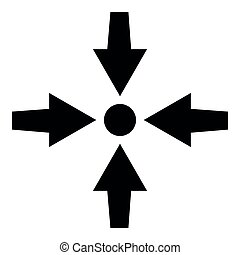 Vier Pfeile zeigen, um Symbol schwarz Farbe Illustration flachen Stil einfache Bild.