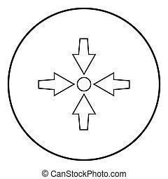 Vier Pfeile zeigen, um Symbol schwarz Farbe Vektor Illustration einfaches Bild.