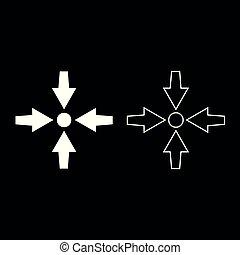 Vier Pfeile zeigen, um Symbol setzen weiße Farbe Abbildung flachen Stil einfache Bild.