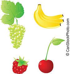 vier, satz, früchte