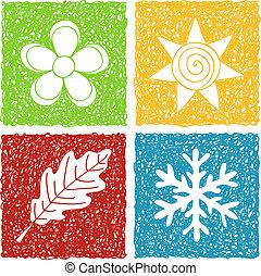 Vier Staffeln Doodle-Ikonen