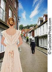 Viktorianische Frau, die Männer beobachtet.