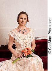 Viktorianische Frau mit Rosen.