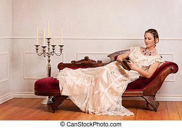 Viktorianische Frauen lesen Buch.