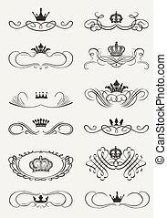 Viktorianische Schriftrollen und Krone. Decorative Divider. Vintage
