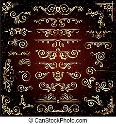 Viktorianische Vektor-Set von goldenen ornate Seite Dekorelemente wie Banner, Rahmen, Trenner, Ornamenten und Muster im dunklen Hintergrund. Ein goldener Kalligrafiker