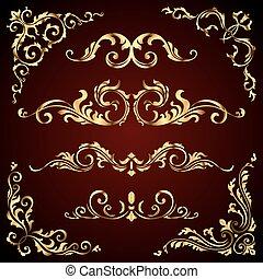 Viktorianische Vektor-Set von goldenen ornate Seite Dekorelemente wie Banner, Rahmen, Trenner, Ornamenten und Muster im dunklen Hintergrund. Goldene Kalligrafen
