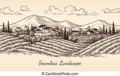 Vineyard nahtlose Landschaft.
