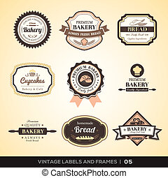 Vintage Bäcker Logo Etiketten und Rahmen.