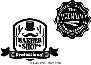 Vintage barber shop Banner oder Labels Designs gesetzt.