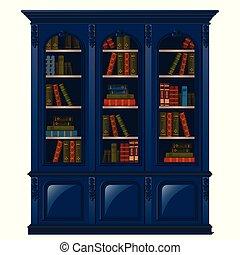 Vintage Bookcase Blue gefüllt mit Büchern. Bibliotheksmöbel isoliert auf weißem Hintergrund. Vector Illustration.