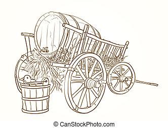 Vintage Cart mit einem Fass Wein.