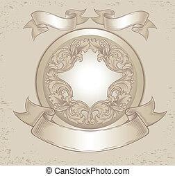Vintage Emblem mit Blumenmustern.