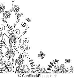 Vintage-Foral-Card mit handdralen Blumen und Schmetterlingen