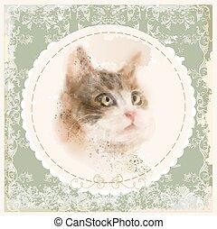 Vintage hand gezeichnet Wasserfarben Portrait der Katze.