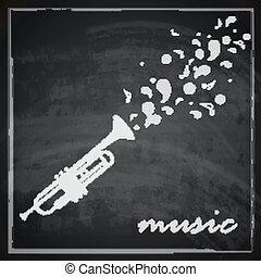 Vintage Illustration mit Trompete im Hintergrund. Musik Illustration