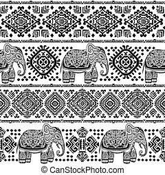 Vintage Indian Elefanten nahtlose Muster mit Stammesschmuck.