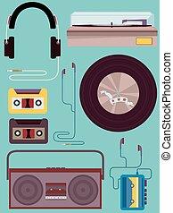 Vintage-Musikelemente.
