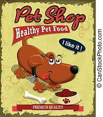 Vintage Pet Shop Poster Design.