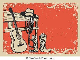 Vintage Poster mit Cowboykleidung und Musikgitarre.