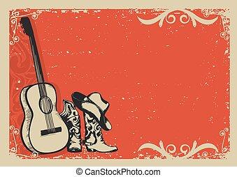 Vintage Poster mit Cowboystiefeln und Musikgitarre.