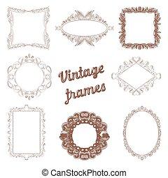 Vintage Rahmen handgezeichnet. Retro dekorative Designelemente. Vector Illustration