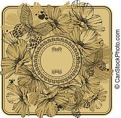 Vintage Rahmen mit wilden Blumen und Schmetterlingen. Vector Illustration.