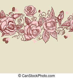 Vintage Roses nahtloses Muster.