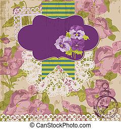 Vintage Scrapbook-Elemente - viola-Blumen im Vektor
