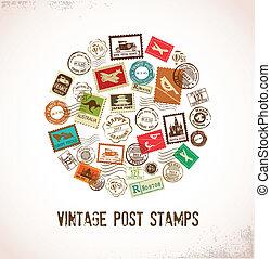 Vintage Vektor Hintergrund mit Gummistempeln