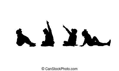virtuelle wirklichkeit, kind, 4, silhouette, satz