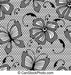 vlinders, muster, flowers., spitze, seamless