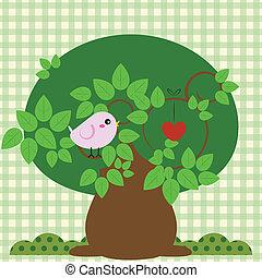 Vogel in einem Baum mit Liebe