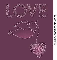 Vogel mit einem rosa Herz absetzen