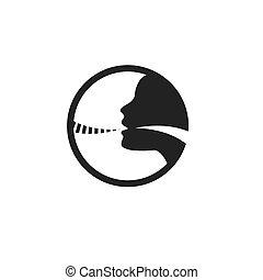 Vokalkabeln-Icon mit Personenbild-Vektorgrafik.
