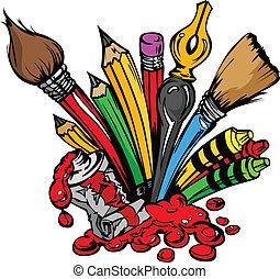 vorräte, vektor, kunst, karikatur
