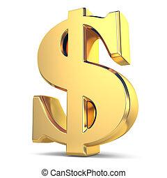 währung, goldenes, dollarzeichen