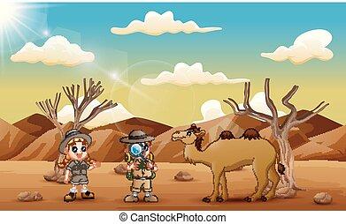 wüste, kinder, forscher, kamel