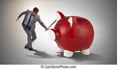 Wütender Mann mit Baseballschläger schlägt Sparschwein.