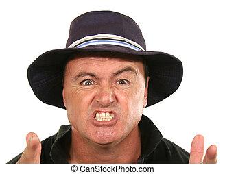 Wütender Mann mit Hut