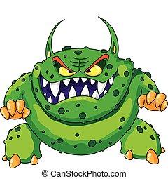 Wütendes grünes Monster