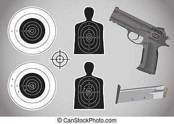 Waffe, Munition und Ziele - Illustration.
