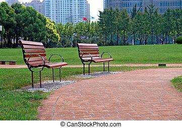 Walk way in city park.