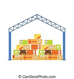Warehouse Bau von Dachkonstruktionen aus Metall mit Stapelpapier-Paketen, die darunter gespeichert sind