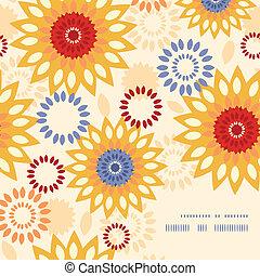 Warmes, farbenfrohes, abstraktes Rahmeneckmuster Hintergrund.